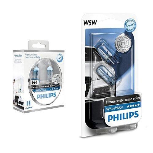 Philips White Vision Lampada 12342WHVSM Alogena H4, fino a 3.700 K, Set di 2 + Philips White Vision Lampada 12961NBVB2 Alogena 12V , W5W, fino a 4300K, Set di 2