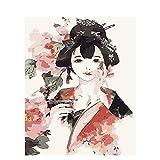 Pintar por Números Kits,Pintar por Numeros para Adultos Niños Mujer antigua en rojo DIY Conjunto Completo de Pinturas para el Hogar Decoraciones-With_Frame_50x65cm E784