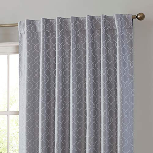 HLC.ME Franklin 100% Complete Blackout Thermal Insulated Energy Savings Heat/Cold Blocking Back Tab Rod Pocket Curtain Drapery for Bedroom & Living Room, 2 Panels (52 W x 63 L, Silver/Light Grey)