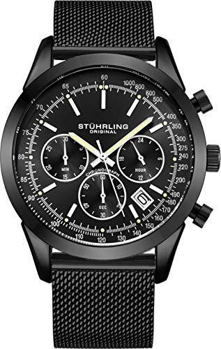 Stuhrling Original - Reloj cronógrafo para hombre, correa de malla de acero inoxidable y resistente al agua hasta 100 m