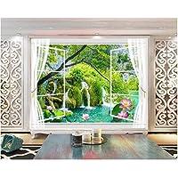 Iusasdz カスタム壁紙ホーム装飾壁画3Dウィンドウ外の風景ロータスポンド風景テレビソファ背景壁紙-150X120Cm