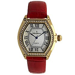 Barrel Shaped Crystal Studded Bezel and Red Leather Wrist Strap