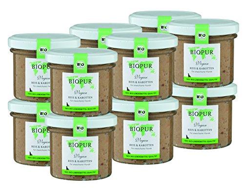 BIOPUR Bio Hundefutter Vegan, Reis & Karotten für Hunde 12x100g