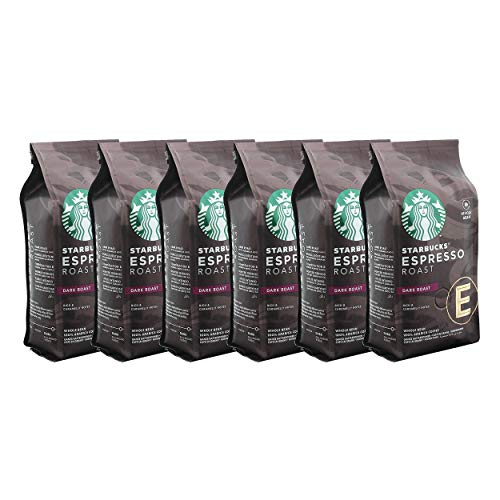 Starbucks Espresso Roast Kaffee, 6er Set, Dark Roast, Röstkaffee, Vollmundig, Ganze Bohnen, 6 x 200 g