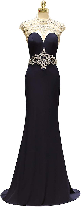 PROMNOVAS Beaded Belt Prom Dresses Mermaid Long Evening Dresses