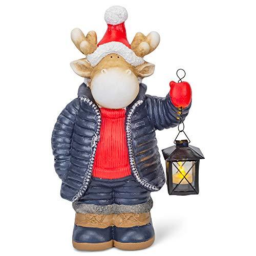 Mark Feldstein & Associates Merry Moose Holding Lantern Natural Brown 17 inch Resin Stone Holiday Door Greeter Figurine
