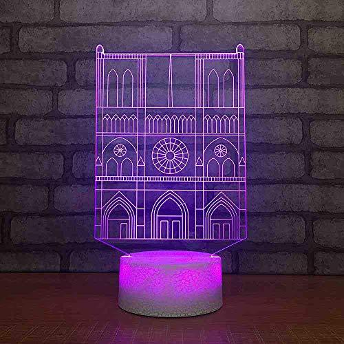 GZGNL Creative 3D Led Usb Lighting 7 Couleur Visuel Villa Construction Modélisation Bureau Lampe Décoration de La Maison Sommeil Nuit Luminaire Cadeau