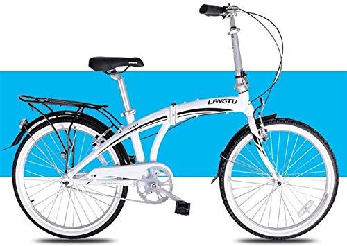LEYOUDIAN Luce Folding Bike, Biciclette Adulti Uomini Donne Pieghevoli, 24' Single Speed Pieghevole City Bike Biciclette, Lega di Alluminio Bicicletta con Posteriore Carry Rack (Color : White)
