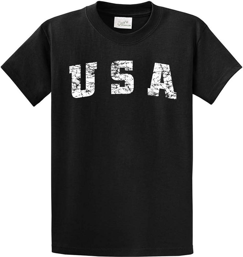 Joe's USA -Tall Vintage USA Logo Tee T-Shirts in Size X-Large Tall -XLT Jet Black