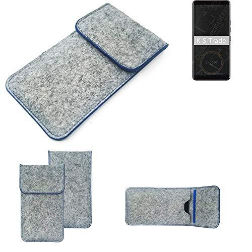 K-S-Trade Filz Schutz Hülle Für HTC Exodus 1 Schutzhülle Filztasche Pouch Tasche Hülle Sleeve Handyhülle Filzhülle Hellgrau, Blauer Rand