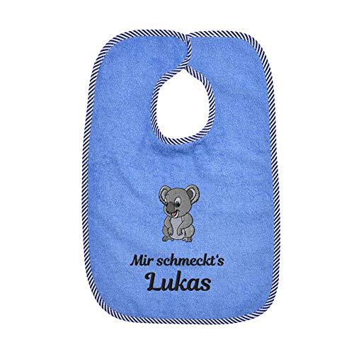 Wolimbo Lätzchen mit Klettverschluss - blau - personalisierbar - mit Wunsch Name/Motiv - bestickt - Babylätzchen - für Mädchen und Jungs