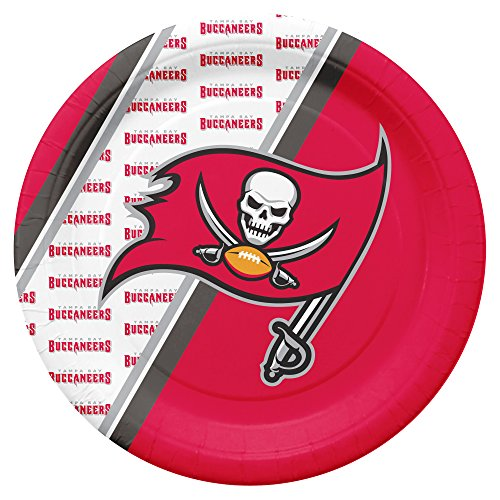 NFL Tampa Bay Buccaneers Disposable Paper Plates, Pack of 20