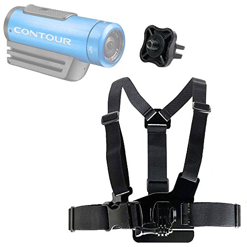 DURAGADGET Contour Action Camera Chest Harness Mount - Fully Adjustable Chest Harness Mount with Quick Release-Buckle for Contour +2, Contour Roam 2 & Contour Roam - Plus GoPro Screw Thread Adapter!