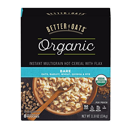 Post Better Oats Organic Instant Oatmeal with Flax Seeds and Quinoa, Bare Flavor, 11.8 Ounce