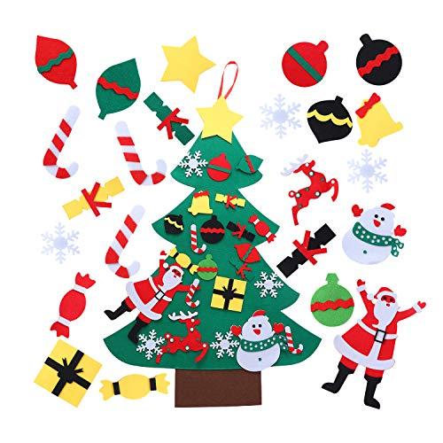 Herefun 100cm Feltro Albero Natale, Feltro Albero Natale con Ornamenti Staccabil Feltro Albero di Natale per Bambini DIY Feltro Albero Natale, Decorazioni Natale per Natale Home Porta Parete