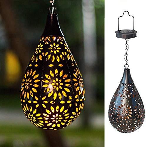 BOAER Hanging Solar Lights Outdoor Garden Boho LED Flower Waterproof Decorative Metal Light for Porch Garden Outdoor (1 Pack)