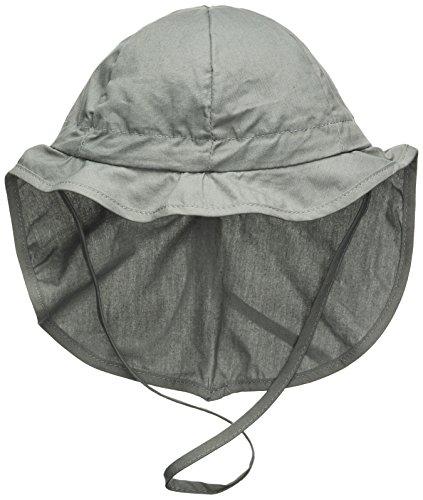Melton Baby-Jungen Sonnenhut mit Nackenschutz UV 30+, Uni Kappe, Grau (Light Grey 132), 51