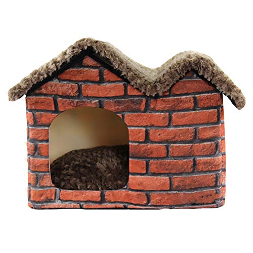 XMCWZJ Haustiere Zwinger Nettes Nest Alte tragbare Backstein Villa Haustier Hundehütte Warm Gemütliche Katze Pad Welpenbett Doppeldach Zwinger für Hunde,55x40x42cm