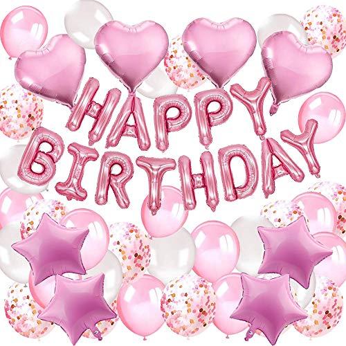 DAYPICKER Decorazione Festa di Compleanno Ragazza Rosa, Palloncini Happy Birthday , Ghirlande, Palloncini in Lattice con coriandoli Palloncino in Foil a Cuore Palloncino a Stella