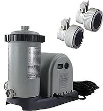 Intex 1500GPH Easy Set Pool Timer & GFCI Filter Cartridge Pump + 2 Hose Adapters