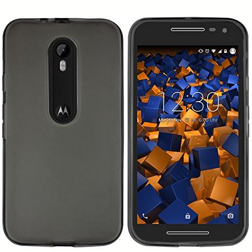 mumbi Funda Compatible con Motorola Moto G3 Caja del teléfono móvil, Negro Transparente