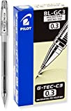 PILOT G-Tec-C Gel Ink Rolling Ball Pens, Micro Fine Point (0.3mm), Black Ink, 12-Pack (35488)