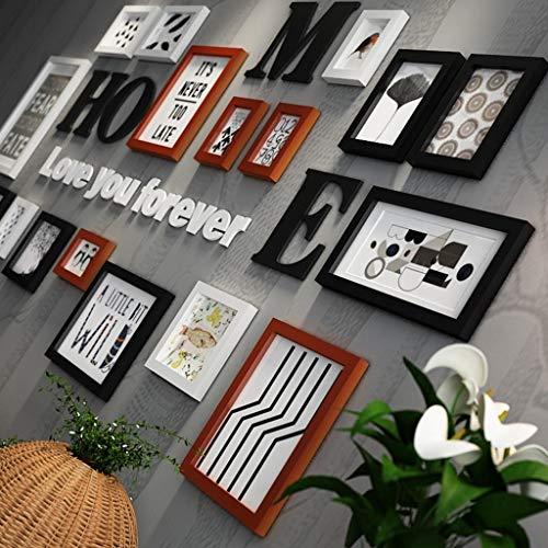 Bois Massif Photo Cadre Photo Combinaison Salon Décoration Murale Canapé Fond Mur Cadre Photo Cadre (Couleur : Brown)