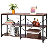 VIVOHOME 55 Inch 3-Tier Industrial Entryway Hallway Console Sofa Table Narrow Long with Black Metal Frame, Storge Open Shelves for Living Rustic Oak