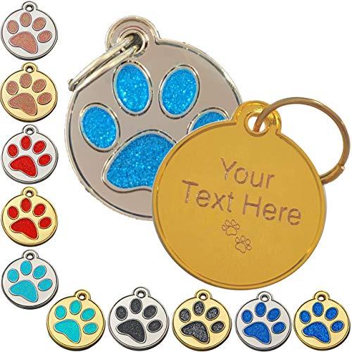 Personalizado grabado perro cachorro gato nombre identificación Glitter Tag Accesorios (negro - plata)