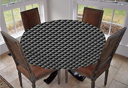 Angel Bags Dark Grey Round Tablecloth,Abstract Monochromatic Pattern with Triangles Checkered Design 3D Effect Modern Decorative Polyester Table Cover,36 Inch,for Dining Rooms and Kitchens Grey Black
