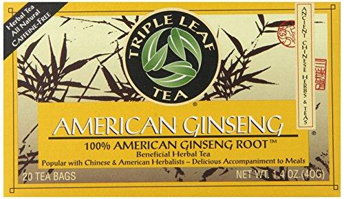 Triple Leaf Tea - Té de la raíz del Ginseng americano - 20Bolsitas de té