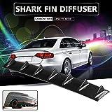 Ruien 33' x6' Universal Rear Bumper Lip Diffuser 7 Shark Fin Style Gloss Carbon ABS (Water Transfer Printing)