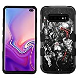 for Galaxy S10 Plus / S10+, Hard+Rubber Dual Layer Hybrid Shockproof Rugged Impact Cover Case - Star Wars Boba Fett Mandalorian Crest #ZSD