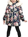"""Girls' Floral Thick Quilted Padded Winter Coat with Faux Fur Trim Hood Navy Blue Tag 120-43""""(4T)"""