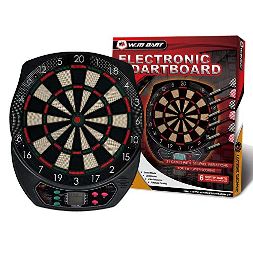 WIN.MAX Electronic Soft Tip Dartboard Set LCD Display with 6...