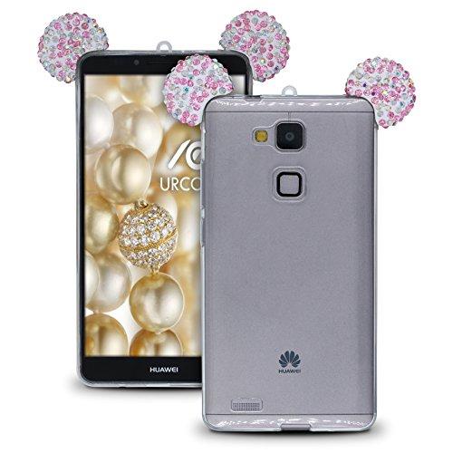Urcover® Maus Ohren Hülle kompatibel mit Huawei Ascend Mate 7 Handyhülle Bling Ear Schutzhülle Hülle Cover Etui Crystal Bär Girl TPU Diamant Rosa Bunt