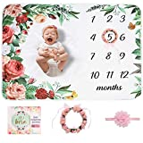 Baby Monthly Milestone Blanket | Floral Monthly Milestone Stickers, Premium Floral Wreath & Headband | Extra Soft Fleece Baby Photo Blankets for Newborn 1-12 Months for Girl and Boy