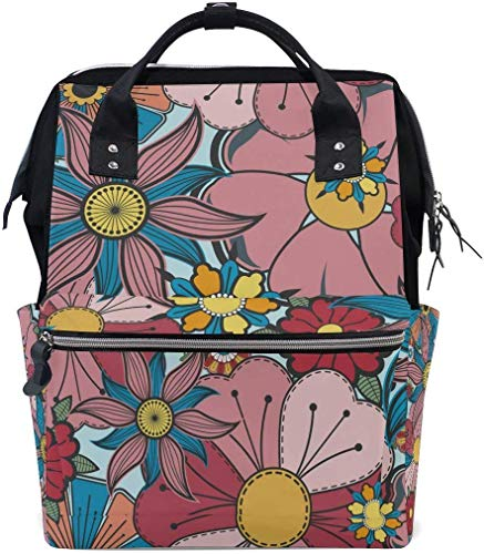 UUwant Sac à Dos à Couches pour Maman Large Capacity Diaper Backpack Travel Manager Baby Care Replacement Bag Nappy Bags Mummy Backpack Bright Flowers Floral Pattern School Bag