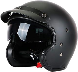 Retro Helm Black Fiberglass Open Face 3/4 Motocross Helm Jet Helm Retro Helm Innenvisier Mattschwarz XL