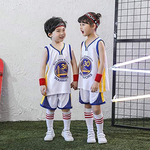 Warriors #30 Curry, Kinder Basketball Kleidung Anzüge für Männer und Frauen im Sommer Kindergarten Trikot Performance Bekleidungsklasse für Große Kinder Grund- und Sekunde Weiß-M