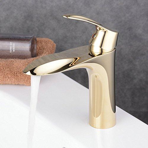 Beelee BL1052G Messing Wasserhahn Waschbecken Waschtischarmatur Einhebel Waschtischmischer