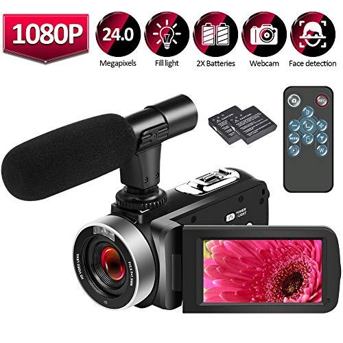 Videokamera Camcorder HD 1080P 25FPS Video Camcorder 24.0MP Selbstauslöser Mini Videokamera mit Fernbedienung Mikrofon und Webcam Funktion