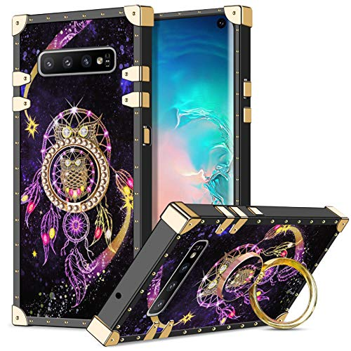 Wollony Case Compatible with Galaxy S10 with Ring Stand Kickstand Square Metal Edge Retro Case for Women Girls Drop Protection Shockproof Protective Cover for Galaxy S10 6.1 inch Owl