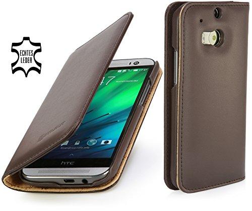 StilGut Talis Schutz-Hülle für HTC One M8 mit Kreditkarten-Fächern aus echtem Leder. Seitlich aufklappbares Flip Case in Handarbeit gefertigt für HTC One M8, Cognac Nappa - ohne Magnet