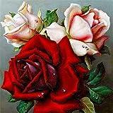 Pintura de diamante de flores flor de piedra redonda completa bordado de diamantes cuadro de diamantes de imitación rosa pintura de mosaico A13 40x40cm