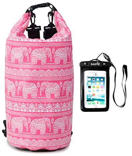 SAE99 Elephant Print Floating Waterproof Dry Bag, for Kayaking, Rafting, Boating, Swimming, Camping, Hiking, Beach, Fishing (Light Pink/w White Print, 10L) (with Waterproof Phone Case)