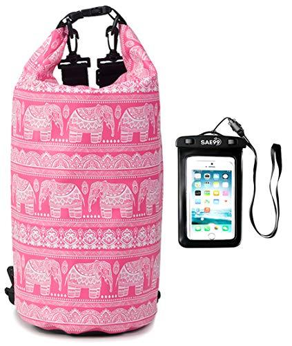 SAE99 Elephant Print Floating Waterproof Dry Bag/w Waterproof Phone Case, for Kayaking, Rafting, Boating, Swimming, Camping, Hiking, Beach, Fishing (Light Pink/w White Print, 10L)