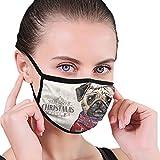 Huyotop Máscara reutilizable lavable de 6.8 x 4.7 pulgadas para hombres y mujeres, resistente al polvo, ajustable, antigripe, hecha a mano con perro carlino y sombrero de Navidad