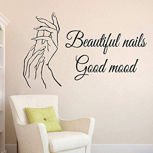 Manicure muursticker nagel salon citaat muurtattoos mooie nagels muurschildering nagellak decor beauty salon raamsticker 57x92cm