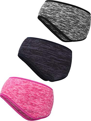3 Stück Ohr Wärmer Stirnband Vollständige Abdeckung Ohrenschützer Stirnband Sport Stirnband für Außeneinsatz Sport Fitness (Dark Blue, Grey, Rose Red)